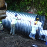 Day 2: Pipe assembly of 7 foot diameter structural plate round pipe--2445 bolts and nuts