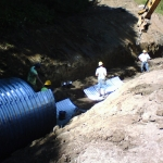 Day 2: About half of the 130 foot pipe is assembled