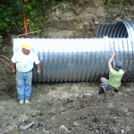 Day 4: Last pieces of pipe being set and bolted together